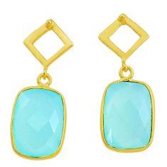 Handmade 10.89cts natural aqua chalcedony 14k gold dangle earrings t16388