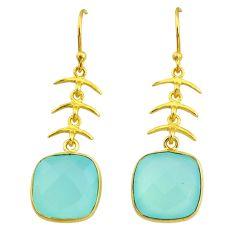 Handmade 13.08cts natural aqua chalcedony 14k gold dangle earrings t16427