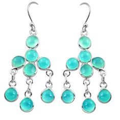 925 sterling silver 11.20cts natural aqua chalcedony chandelier earrings r37424