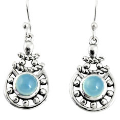925 sterling silver 2.58cts natural aqua chalcedony dangle earrings r19827