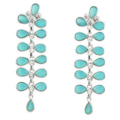 925 sterling silver 13.73cts natural aqua chalcedony dangle earrings r33144