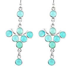 925 sterling silver 12.66cts natural aqua chalcedony dangle earrings r33564