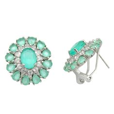 925 sterling silver 10.00cts natural aqua chalcedony earrings jewelry c26372