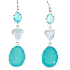 925 sterling silver 20.95cts natural aqua chalcedony moonstone earrings r26344