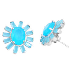 925 sterling silver 14.41cts natural aqua chalcedony stud earrings c19377