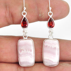 925 sterling silver 19.73cts natural aragonite garnet dangle earrings r86724