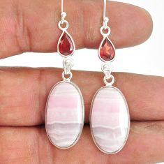 925 sterling silver 21.44cts natural aragonite red garnet dangle earrings r86727