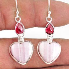 925 sterling silver 14.91cts natural aragonite red garnet dangle earrings r86752
