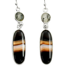 925 sterling silver 17.81cts natural black botswana agate dangle earrings r26035