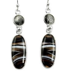 925 sterling silver 16.04cts natural black botswana agate dangle earrings r26038