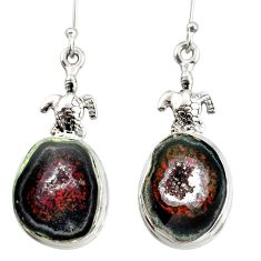925 sterling silver 16.87cts natural black geode druzy tortoise earrings d40311