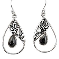 925 sterling silver 4.69cts natural black obsidian eye dangle earrings r38112