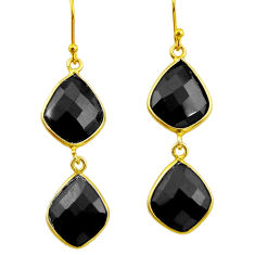 925 sterling silver 16.50cts natural black onyx 14k gold dangle earrings r32458