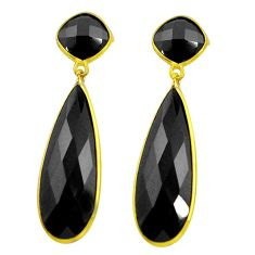 925 sterling silver 28.03cts natural black onyx 14k gold dangle earrings r32467