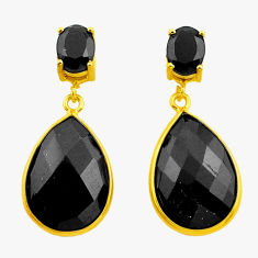 925 sterling silver 19.49cts natural black onyx 14k gold dangle earrings r32807