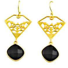 925 sterling silver 13.75cts natural black onyx 14k gold dangle earrings r32877