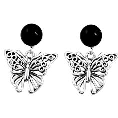 925 sterling silver natural black onyx butterfly earrings jewelry c11628