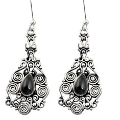 925 sterling silver 4.71cts natural black onyx dangle earrings jewelry d41164