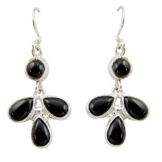 925 sterling silver 11.89cts natural black onyx dangle earrings jewelry d47568