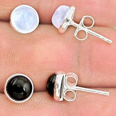 925 sterling silver 4.46cts natural black onyx moonstone stud earrings t23872