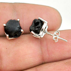 925 sterling silver 7.65cts natural black tourmaline raw stud earrings t21087