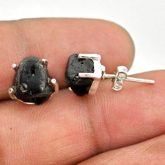 925 sterling silver 8.15cts natural black tourmaline raw stud earrings t21090