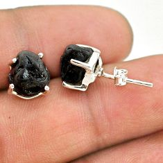 925 sterling silver 8.15cts natural black tourmaline raw stud earrings t21094