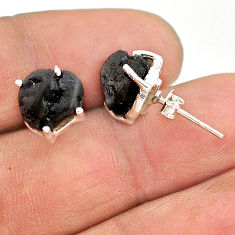 925 sterling silver 7.65cts natural black tourmaline raw stud earrings t21104