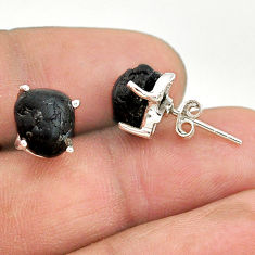 925 sterling silver 7.57cts natural black tourmaline raw stud earrings t21107
