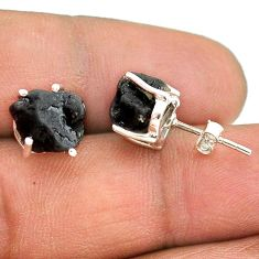 925 sterling silver 7.52cts natural black tourmaline raw stud earrings t21119