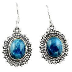 925 sterling silver 6.48cts natural blue apatite (madagascar) earrings d47357