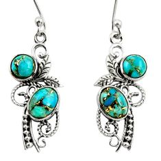 925 sterling silver 4.47cts natural blue copper turquoise dangle earrings r26087