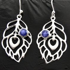 925 sterling silver 1.74cts natural blue iolite feather charm earrings d40005