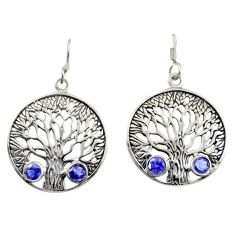 925 sterling silver 2.41cts natural blue iolite tree of life earrings d47104