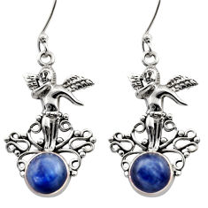 Clearance Sale- 925 sterling silver 6.19cts natural blue kyanite angel earrings jewelry d40831