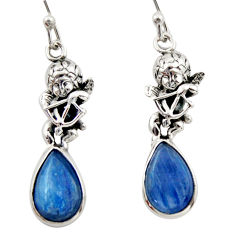 925 sterling silver 8.75cts natural blue kyanite angel earrings jewelry d46784