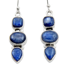 925 sterling silver 10.89cts natural blue kyanite dangle earrings jewelry r19859