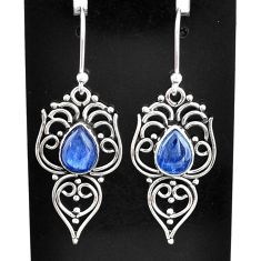 925 sterling silver 4.43cts natural blue kyanite dangle earrings jewelry t2512