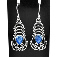 925 sterling silver 4.43cts natural blue kyanite dangle earrings jewelry t2519