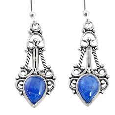 925 sterling silver 3.58cts natural blue kyanite dangle earrings jewelry t2543
