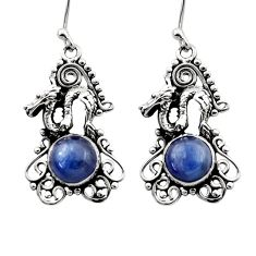 925 sterling silver 6.80cts natural blue kyanite dragon earrings jewelry d40827