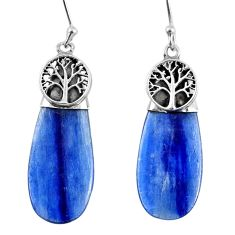 925 sterling silver 13.18cts natural blue kyanite tree of life earrings r57871