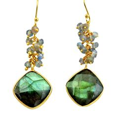 925 sterling silver 25.19cts natural blue labradorite 14k gold earrings r31559