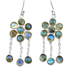 925 sterling silver 10.89cts natural blue labradorite chandelier earrings t4653