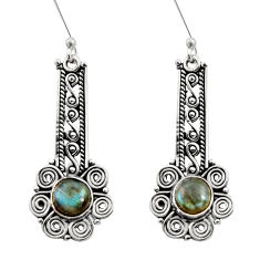 Clearance Sale- 925 sterling silver 2.94cts natural blue labradorite dangle earrings d41104