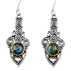 Clearance Sale- 925 sterling silver 2.34cts natural blue labradorite dangle earrings d41110