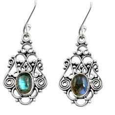 Clearance Sale- 925 sterling silver 4.47cts natural blue labradorite dangle earrings d41114