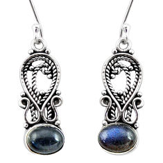 Clearance Sale- 925 sterling silver 3.82cts natural blue labradorite dangle earrings d41118