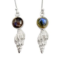 Clearance Sale- 925 sterling silver 6.31cts natural blue labradorite dangle earrings d45784