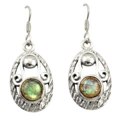 925 sterling silver 4.21cts natural blue labradorite dangle earrings d46995